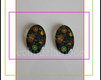 bright tropical flowers 2 cabochon oval glass 25 mm X 18 mm ref 6