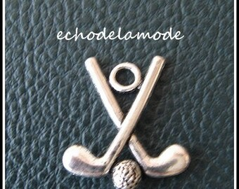 1 charm pendant GOLF CLUBS silver 25 mm X 22 mm