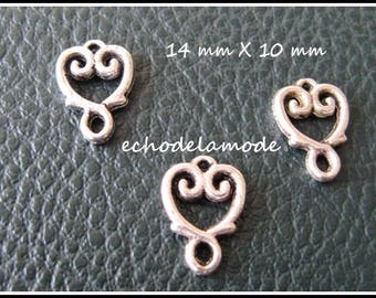 set of 3 connectors silver heart 14 X 10 mm for earrings