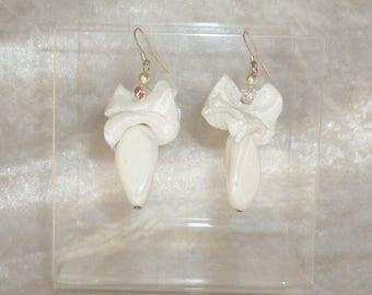 jewelry beads white taffeta berlingot wedding earrings