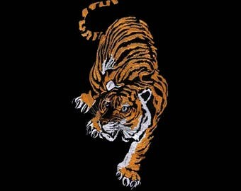 Adhesive Embroidered Tiger patch/ Tiger Embroidery Patch/ Iron on Applique Patch/ Embroideried Patch DIY supply for Coat,T-Shirt,Jeans