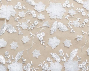 SALE Delicate Floral Embroidery Lace Fabric with colorful stiching embroidery , wedding gown fabric, bridal dress lace fabric by yard
