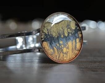 Wide bracelet silver black gold orange white pearl - Bracelet gold orange black white pearly - Bracelet silver orange white gold black