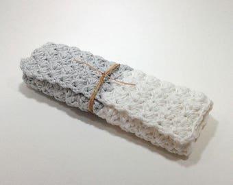 Vierkante MOP katoen/bamboe 16 cm grijs/wit