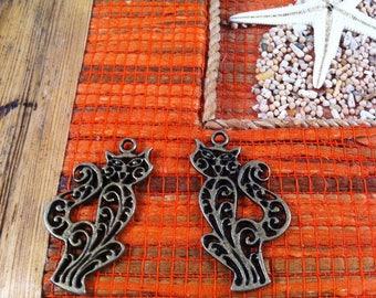 4 cute cats openwork charms pendants, bronze