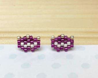 Simple Stud Earrings purple flowers