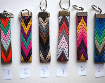 Support key ring, embroidered fabric band 10cmx2cm, your choice