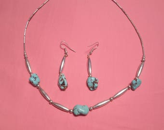 New York Native American Jewelry Set (Turquoise Earrings and Necklace) Niagara Falls