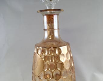 Vintage Orange Iridecent Carnival Glass Decanter