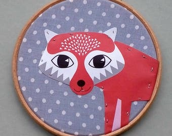 Hoop art, fox art, woodland art, home decor, christmas gift, housewarming, birthday, nursery.