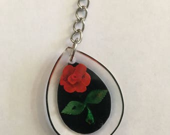 Vintage Red Rose Acrylic Keychain