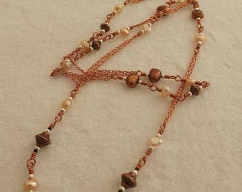 66 cm copper and pearl beaded chain necklace