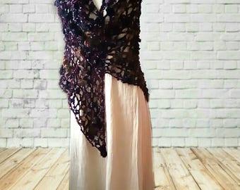 Shawl style gypsy black big mesh