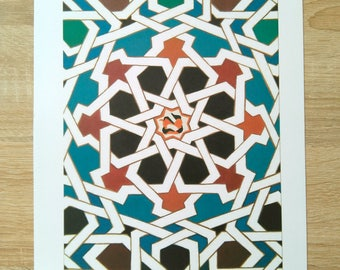 Printed sheet with the Alhambra tile nº2