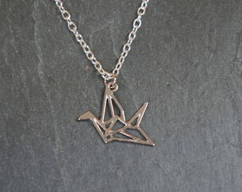So origami - silver crane pendant necklace