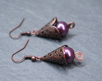 Original earrings conical - Purple Circle