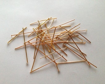 LOT 10 gr stems nail sizes 14-50 mm flat head color gold with brass