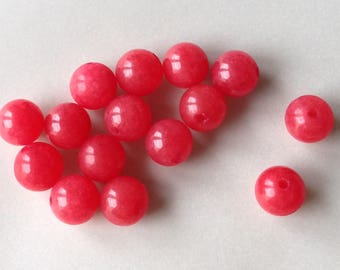 SET of 10 8-9mm 8 9 mm red JADE beads