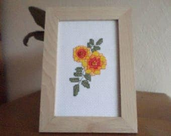 framed with flowers cross stitch Embroidery