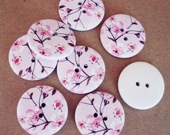 Pink set of 10 wooden flower buttons