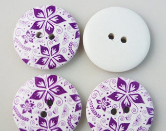 5 buttons wood flowers and butterflies