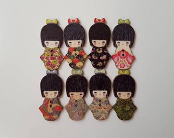 Set of 10 wooden dolls Chinese buttons