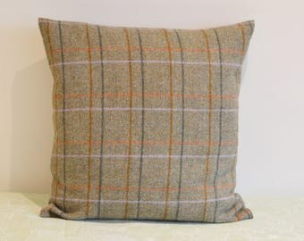 Green Handmade Shetland Tweed 100% Wool Cushion Cover with Wooden Button Fastening