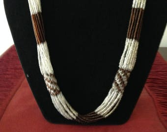 Multi strand brown and grey glass seed bead necklace