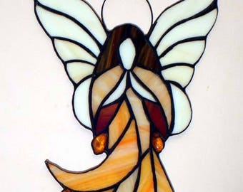 Stained Glass Tiffany Angel with Ambers