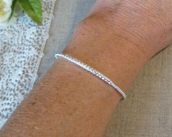 925 sterling silver bracelet, hammered Bangle and silver beads
