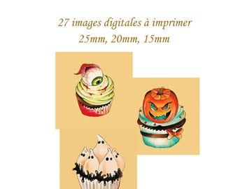 "Print of digital images for ""Halloween Cupcakes"" sending MAIL themed square cabochons"