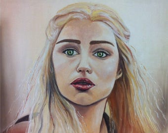 Oil on canvas, Queen Daenerys in Game of thrones