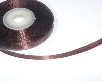 6mm the meter chocolate brown satin ribbon