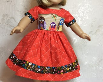 "Autumn colors make a perfect October dress for your 18"" American Girl Doll ."