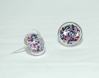 Earrings bubbles of glass - Inclusion of multicolored green microbeads