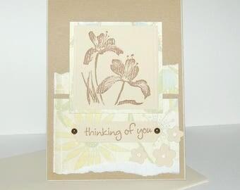 """Tender thoughts"" - beige Iris message card"