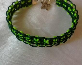 Macrame bracelet neon green and Pine Green