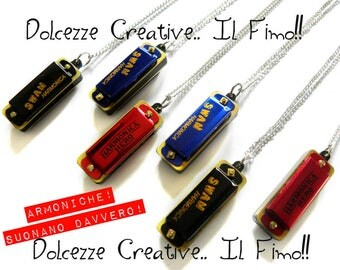 Necklace - harmonica - cute kawaii miniature - musician Red