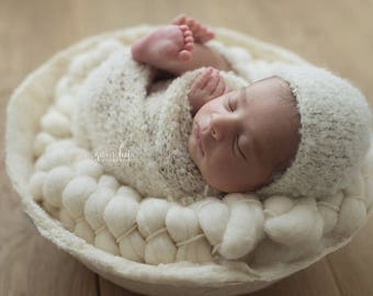 Curly Alapaca wrap - Photo Props, Photography Props, Newborn Bonnet, Newborn Wrap, Newborn Props