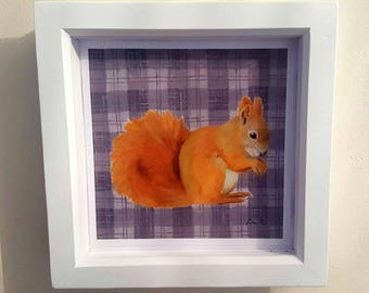 Squirrel oil painting print