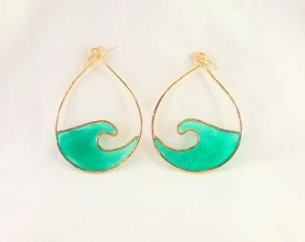 Wave Tear Drop Hoop Earrings | Beach Style | Handmade | Resin | 14K Gold Filled | Handmade in Hawaii