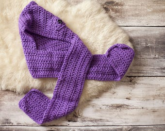 Hooded scarf hand knitted, purple
