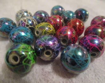 Acrylic mixed striped beads