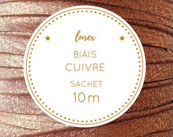 10 m - copper lurex fabric bag