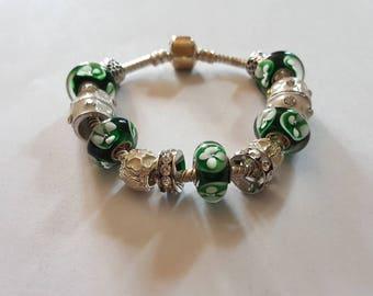 Bracelet Mojito bead murano/green & white/silver/glass/unique/elegant/feminine/lampwork/gift/party/treasure/original/bright/Crystal/enamel /.