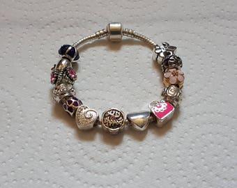 DESTINY Bracelet Bead murano/Pink/Purple/silver/Crystal/mineral/enamel/heart/bag/unique/lampwork/charm European/feminine/jewelry/gift/party