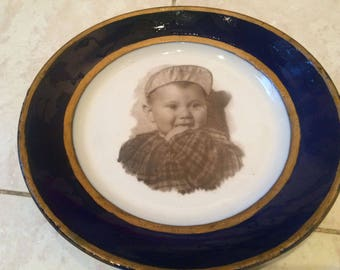 Rare Large Decorative Plate Porcelain Cobalt USSR 1950s