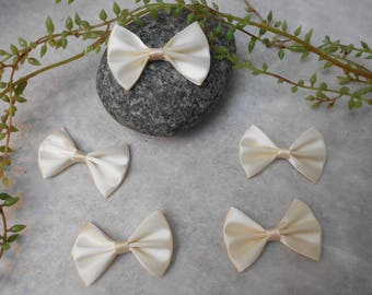 5 cm - ivory - 5.20 satin bows / 3.6 cm
