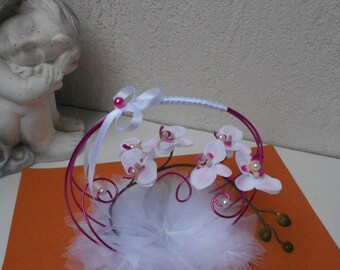Original ring pillow - fuchsia and white with Orchid