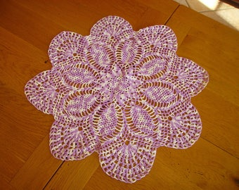 nice round doily white and purple